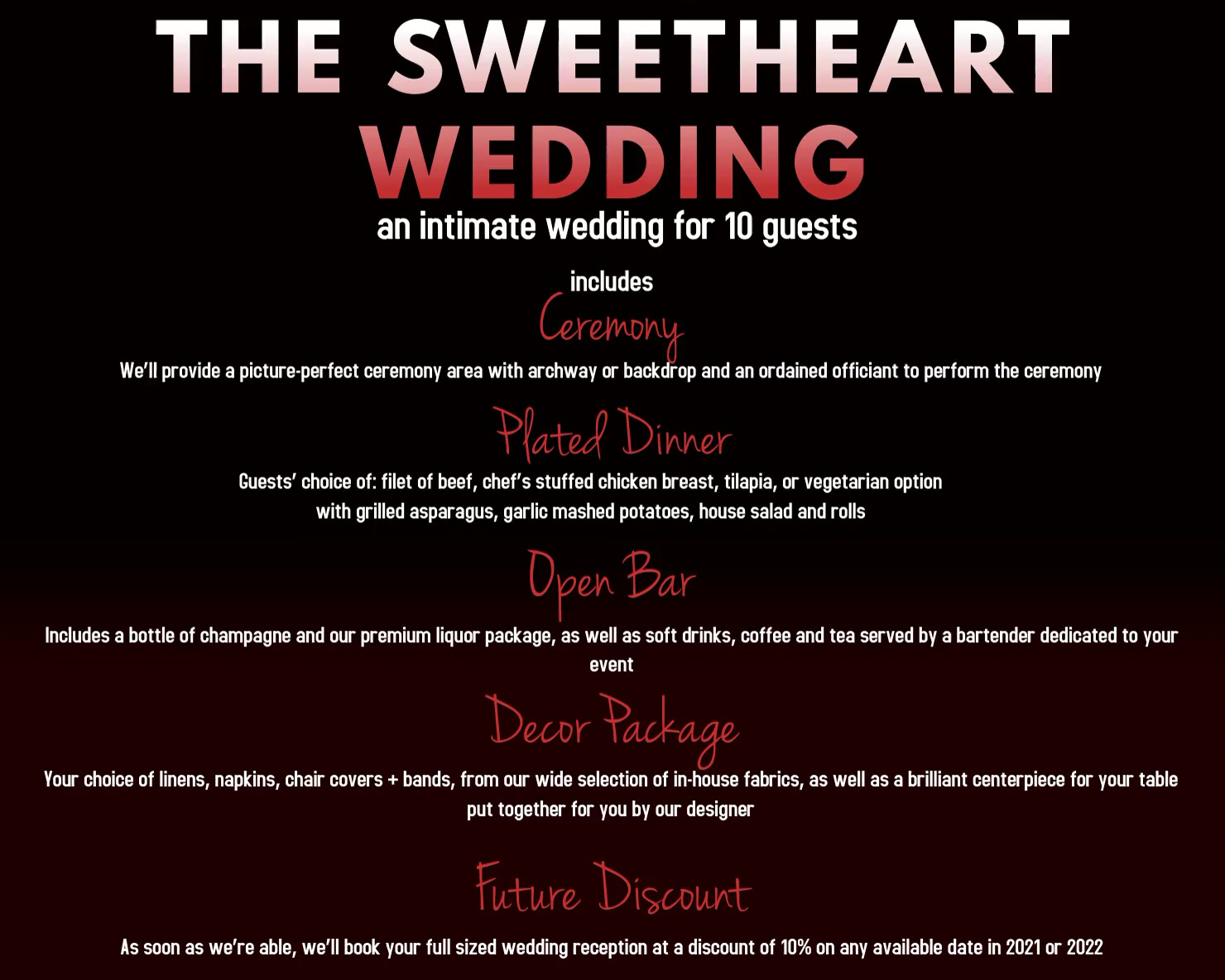 Sweetheart Wedding Package (Up to 10 people)
